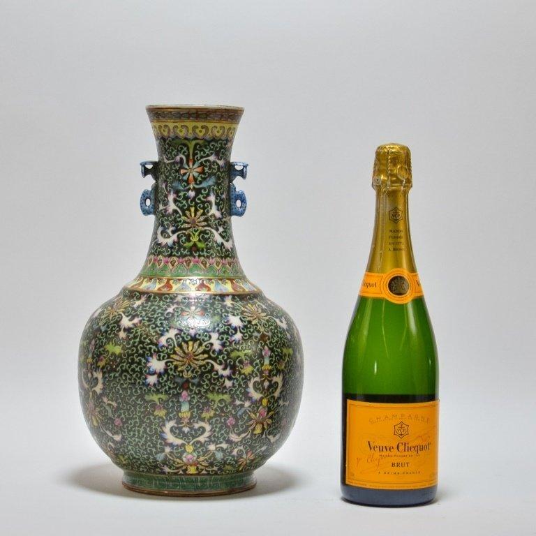 Chinese Famille Noire Green & Black Porcelain Vase - 7