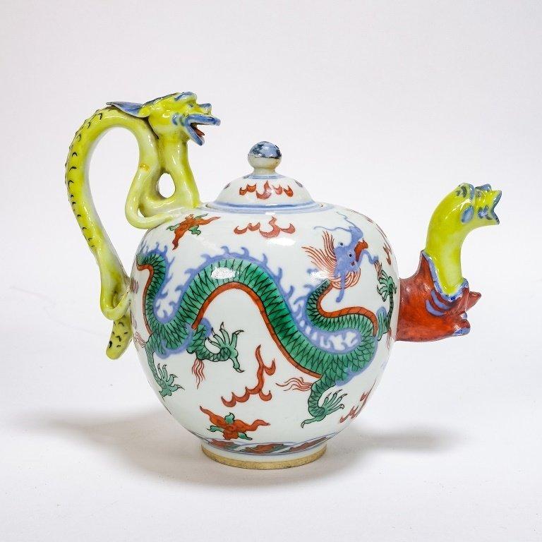 Chinese Ming Dynasty Style Wucai Dragon Teapot - 2
