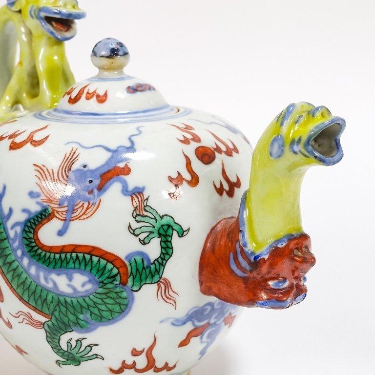 Chinese Ming Dynasty Style Wucai Dragon Teapot - 3