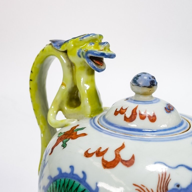 Chinese Ming Dynasty Style Wucai Dragon Teapot - 4