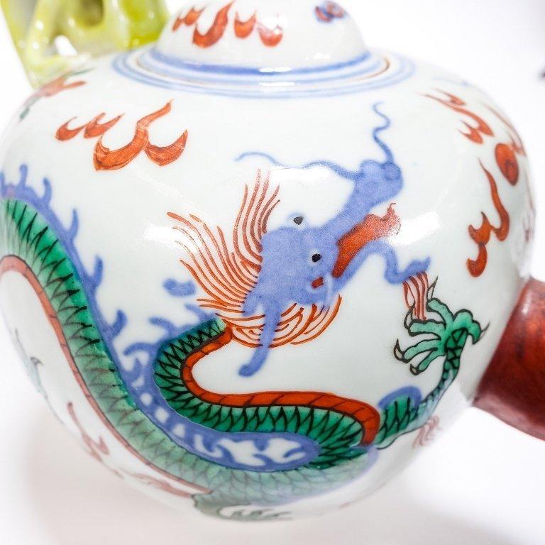 Chinese Ming Dynasty Style Wucai Dragon Teapot - 5