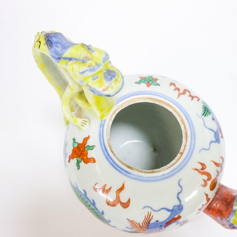 Chinese Ming Dynasty Style Wucai Dragon Teapot - 6
