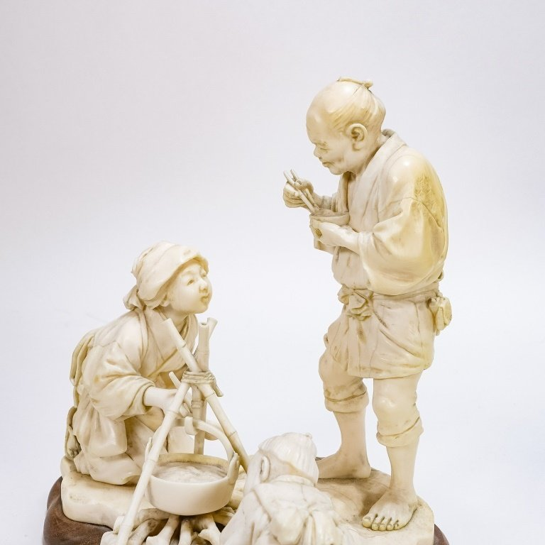 Japanese Signed Carved Ivory Figural Sculpture - 2