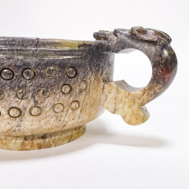 Chinese Carved Jade Archaistic Dragon Handle Cup - 3