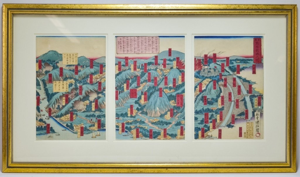 Japanese Utagawa Kunimasa Woodblock Map Tryptych