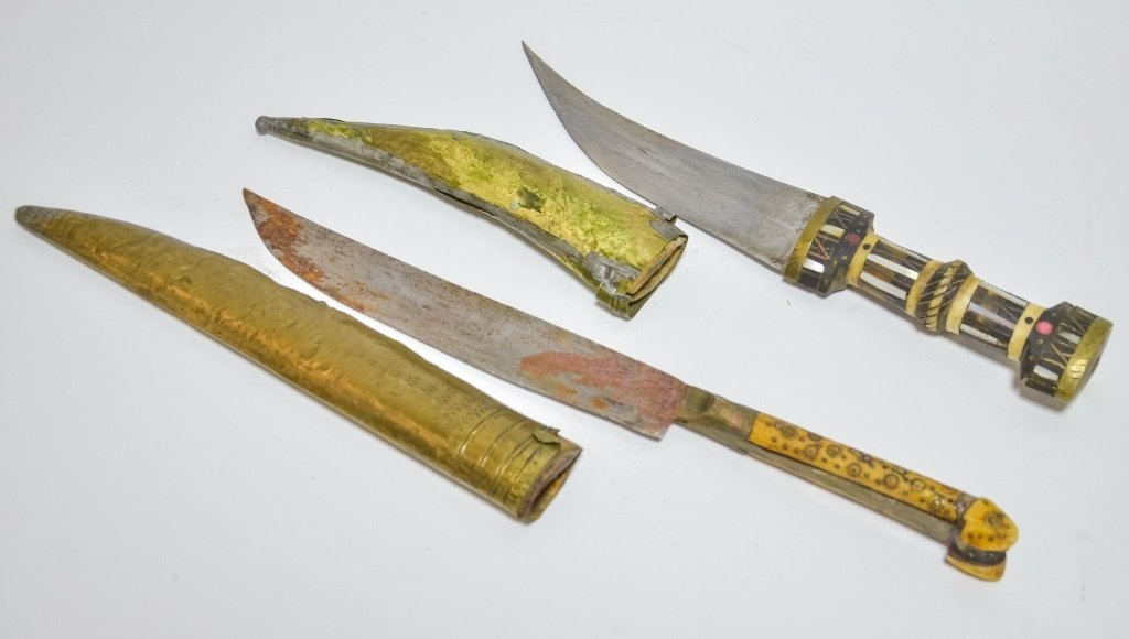 Two Antique 19C. Persian Brass Inlaid Daggers - 5