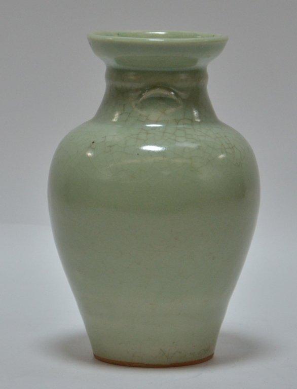 Chinese Crackle Celadon Porcelain Vase - 2