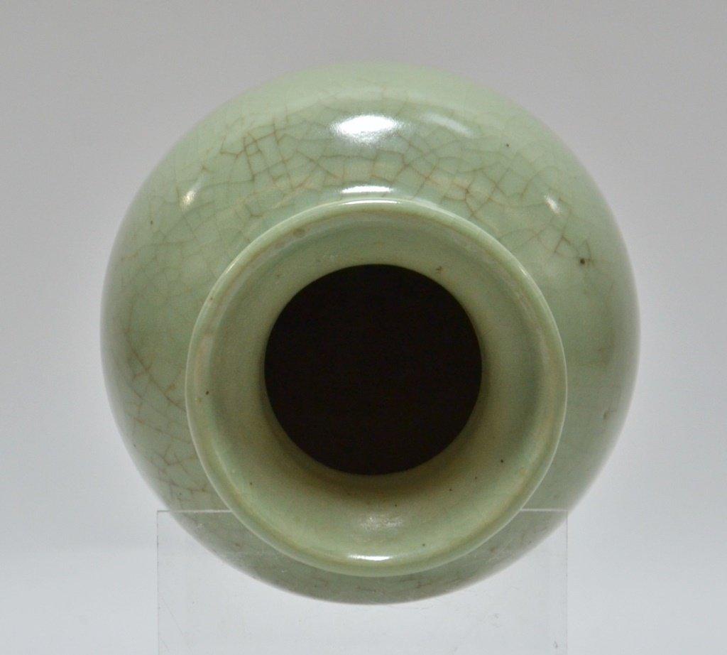 Chinese Crackle Celadon Porcelain Vase - 4