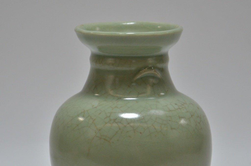 Chinese Crackle Celadon Porcelain Vase - 5