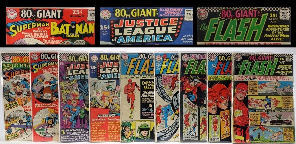 9 Silver Age D.C Comics Giant Flash J.L.A Batman