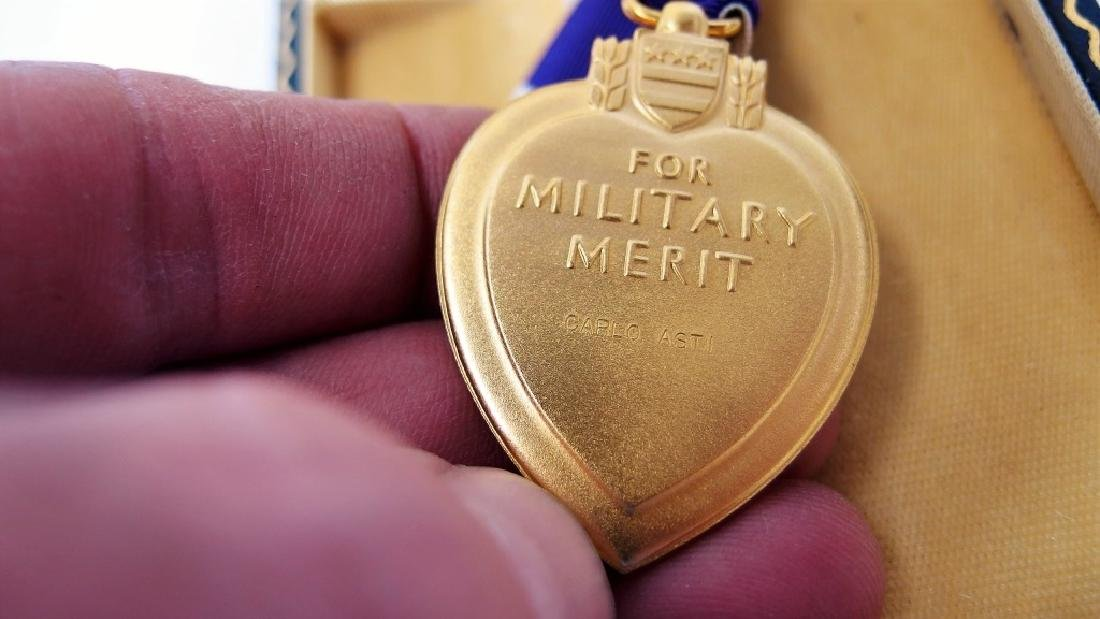 WWII Cased Named Purple Heart Army Sgt Carlo Asti - 2