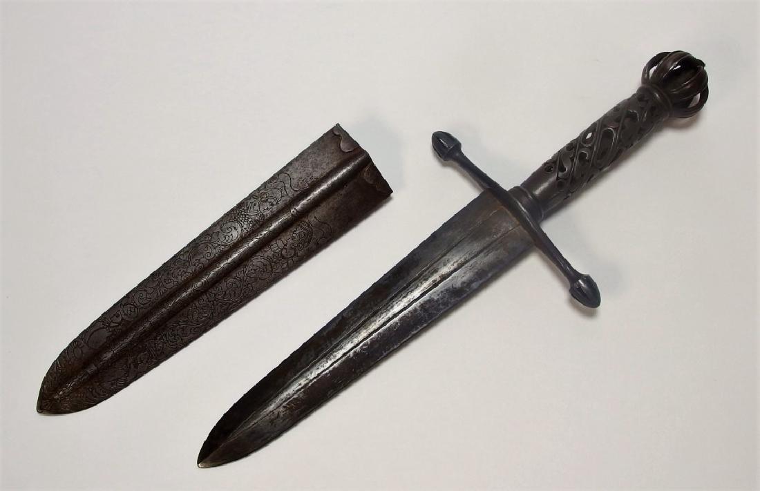 European Openwork Medieval-Style Steel Dagger