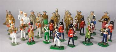 32 Misc American  English Lead Soldier Toys