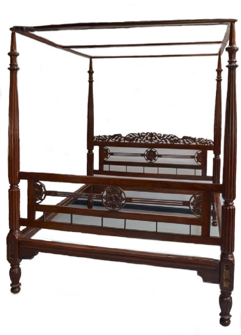 Rare 19C. Indian Rosewood King Size Canopy Bed