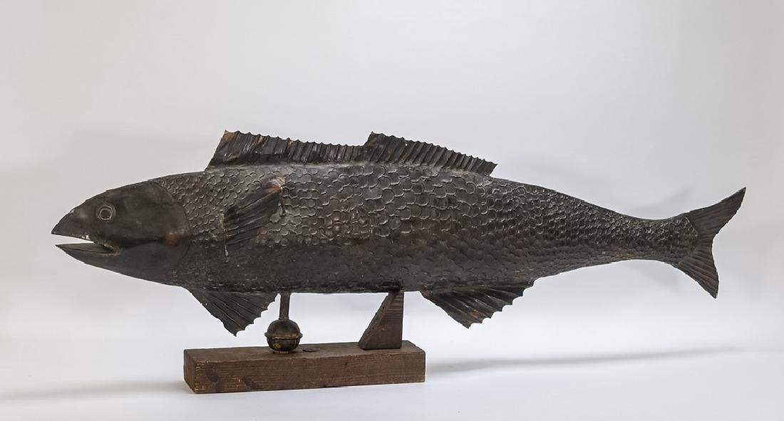 Vintage American Full Body Copper Fish Weathervane