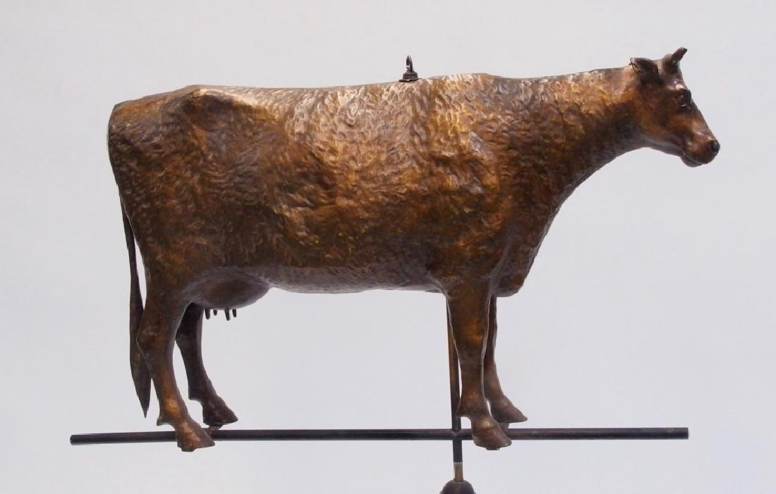 Antique 19C Full Body Copper Cow Weathervane