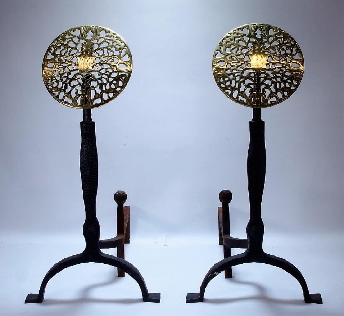 PR European Thistle & Rose Cast Iron Brass Andiron