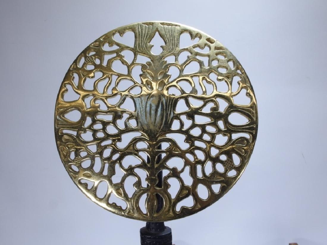 PR European Thistle & Rose Cast Iron Brass Andiron - 2