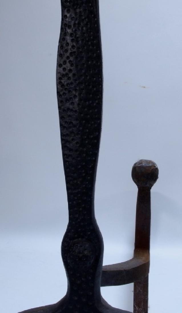 PR European Thistle & Rose Cast Iron Brass Andiron - 3
