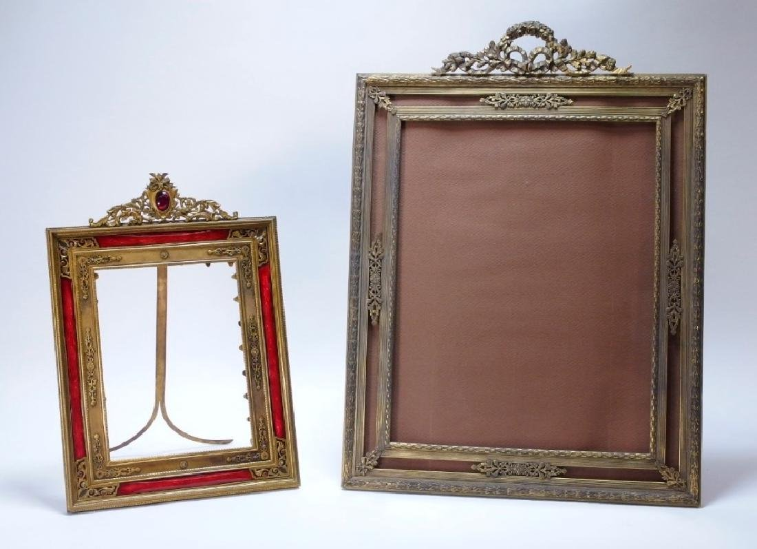 2 French Gilt Bronze Jeweled Picture Frames