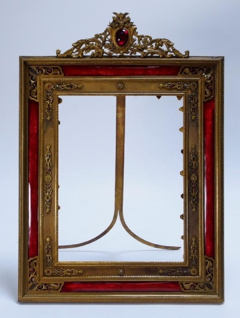2 French Gilt Bronze Jeweled Picture Frames - 2