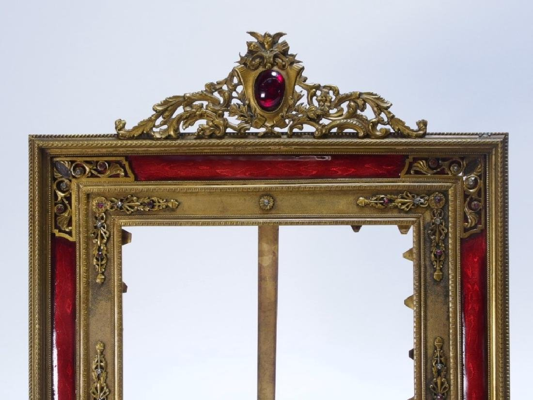 2 French Gilt Bronze Jeweled Picture Frames - 3