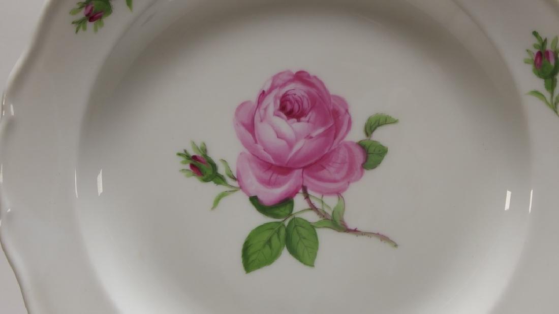 15 Meissen Porcelain Pink Rose Salad Plates - 2