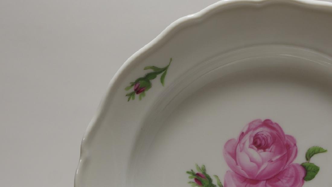 15 Meissen Porcelain Pink Rose Salad Plates - 3