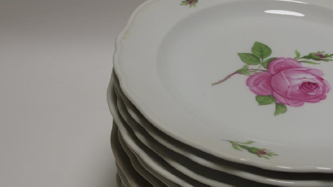 15 Meissen Porcelain Pink Rose Salad Plates - 4