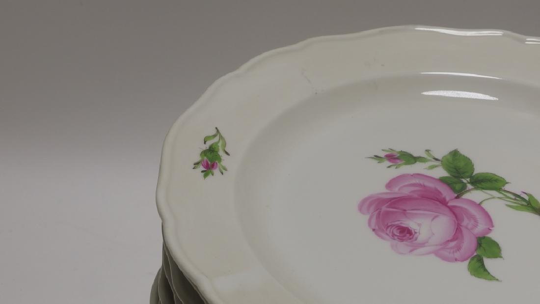 15 Meissen Porcelain Pink Rose Salad Plates - 5