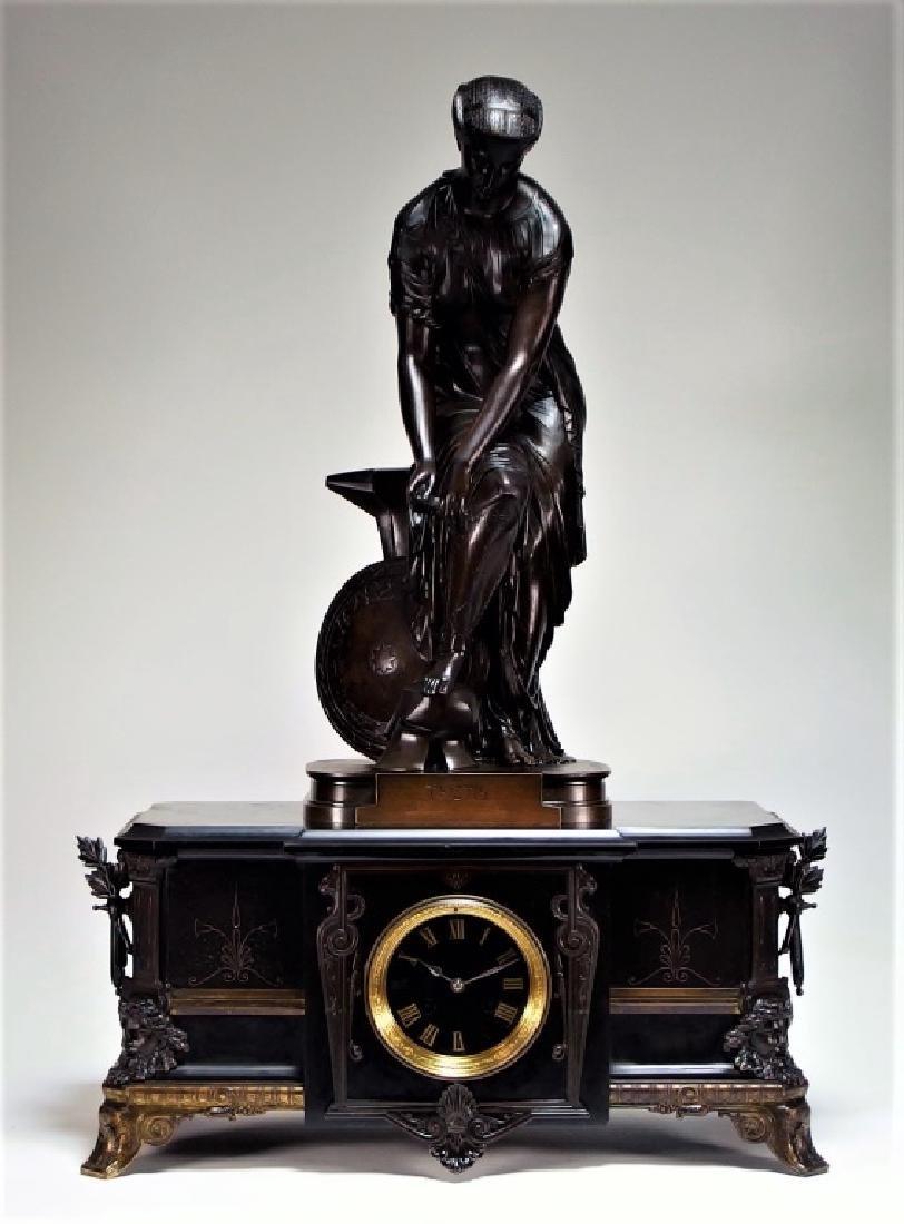 Emile Hebert Neoclassical Bronze of  Thetis Clock