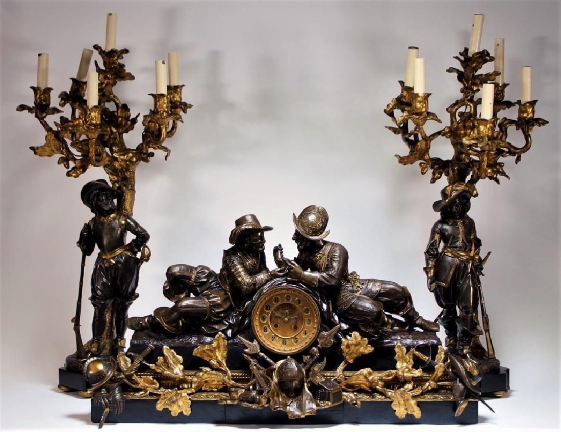 Attrib. Edmund Leveque French Bronze Garniture Set
