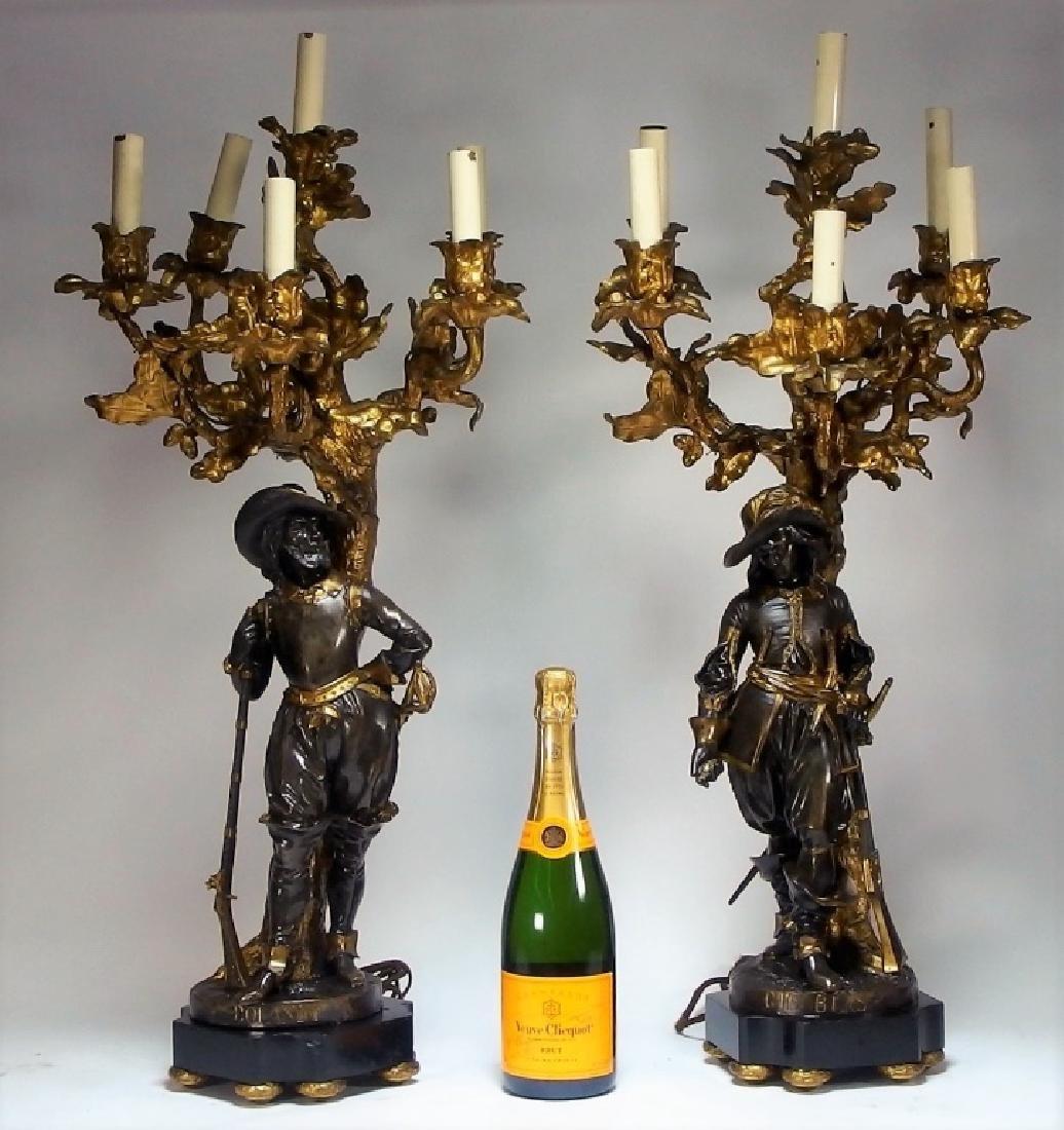 Attrib. Edmund Leveque French Bronze Garniture Set - 7