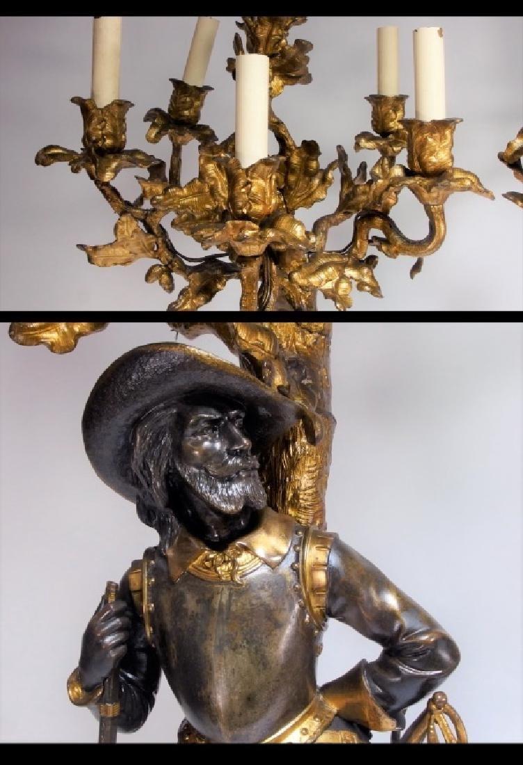 Attrib. Edmund Leveque French Bronze Garniture Set - 8