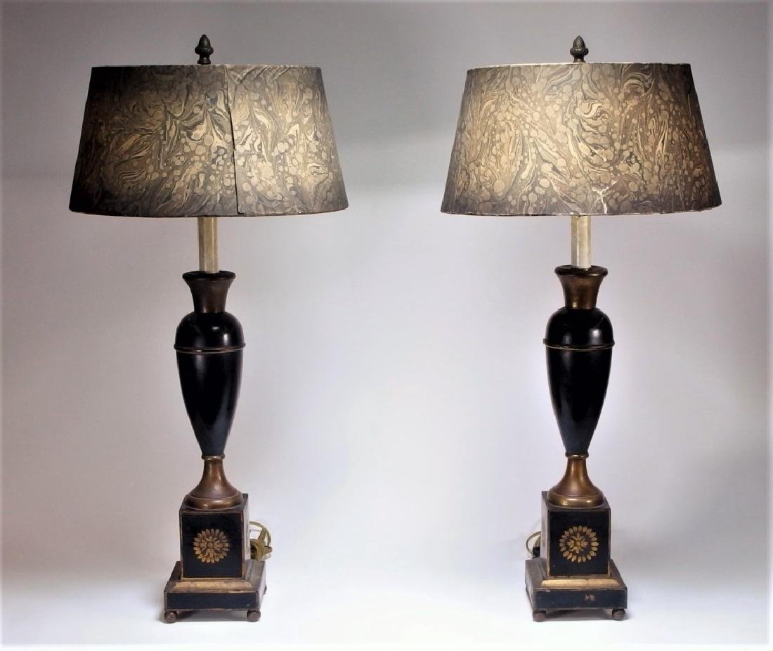 PR Toleware and Marbleized Paper Shade Lamps