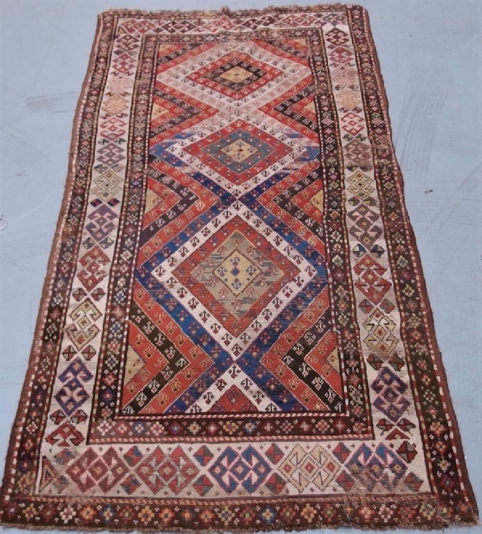 Antique Persian Caucasian Kazak Carpet Rug