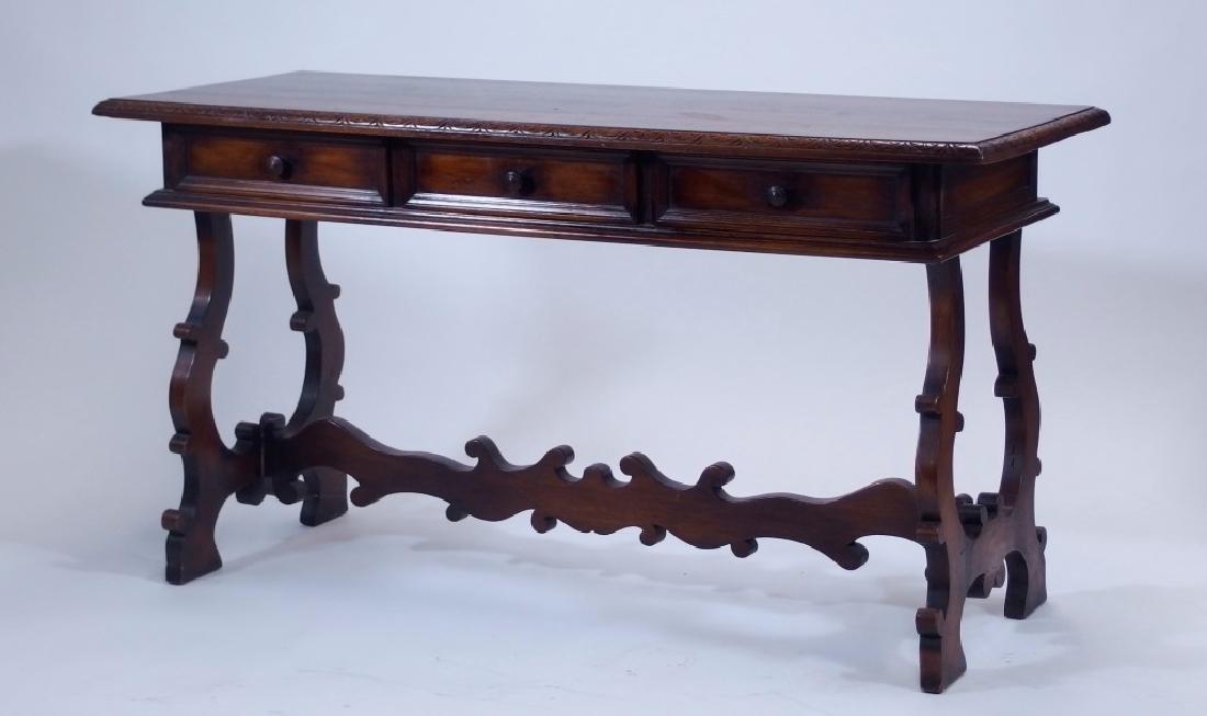 Jacobean Style Walnut Desk Console Table