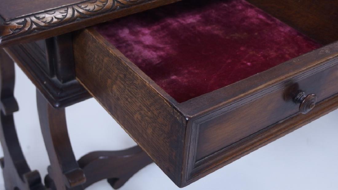 Jacobean Style Walnut Desk Console Table - 5