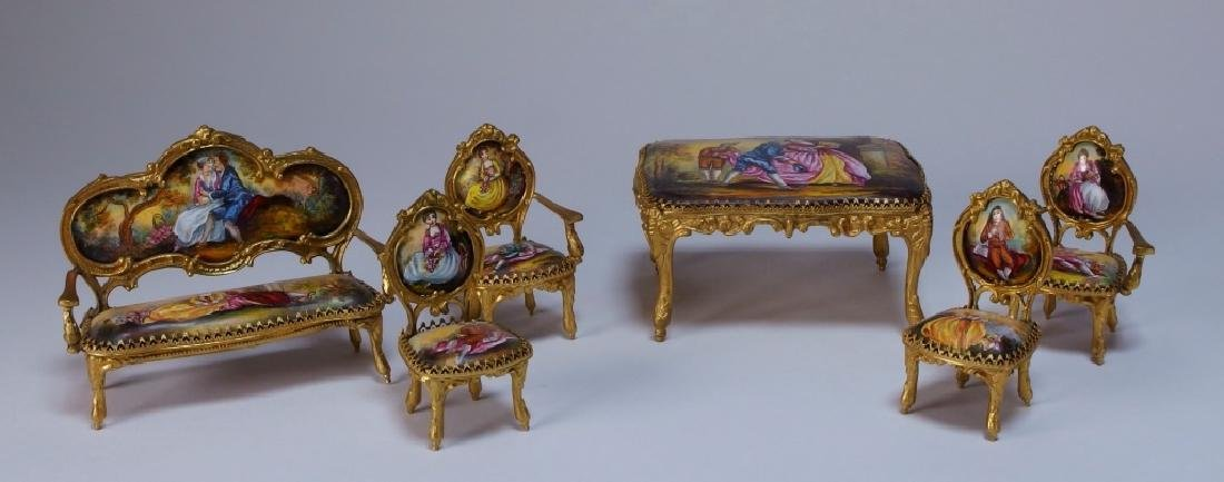 Vienna Bronze Enamel Miniature Furniture Group
