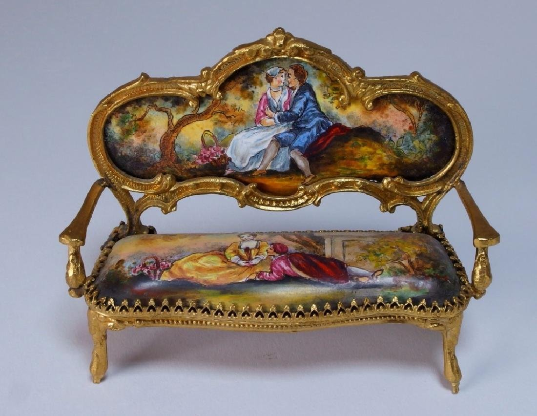 Vienna Bronze Enamel Miniature Furniture Group - 2