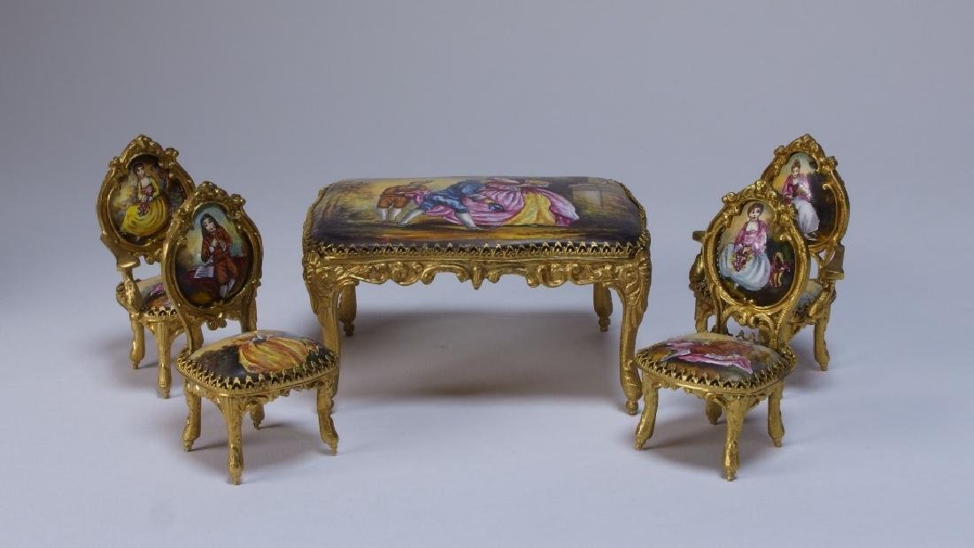 Vienna Bronze Enamel Miniature Furniture Group - 4