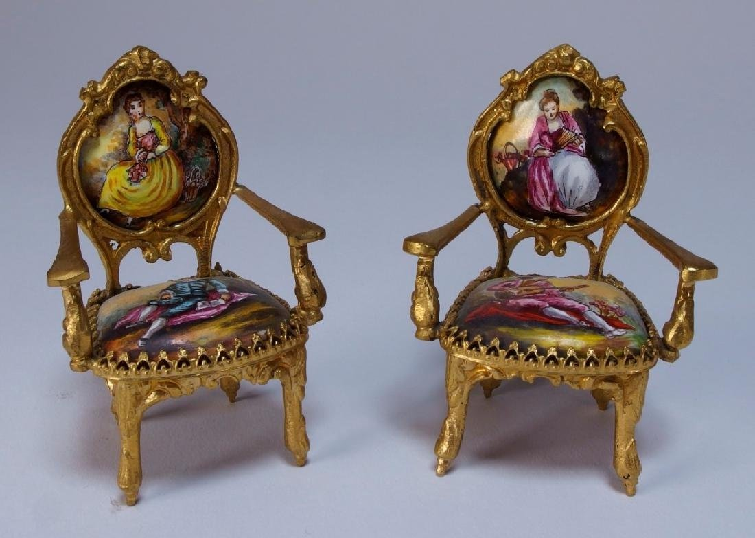 Vienna Bronze Enamel Miniature Furniture Group - 7