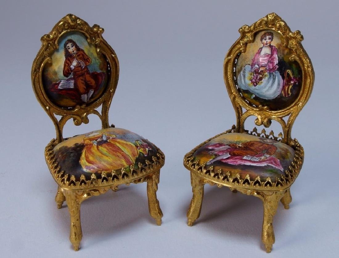 Vienna Bronze Enamel Miniature Furniture Group - 9