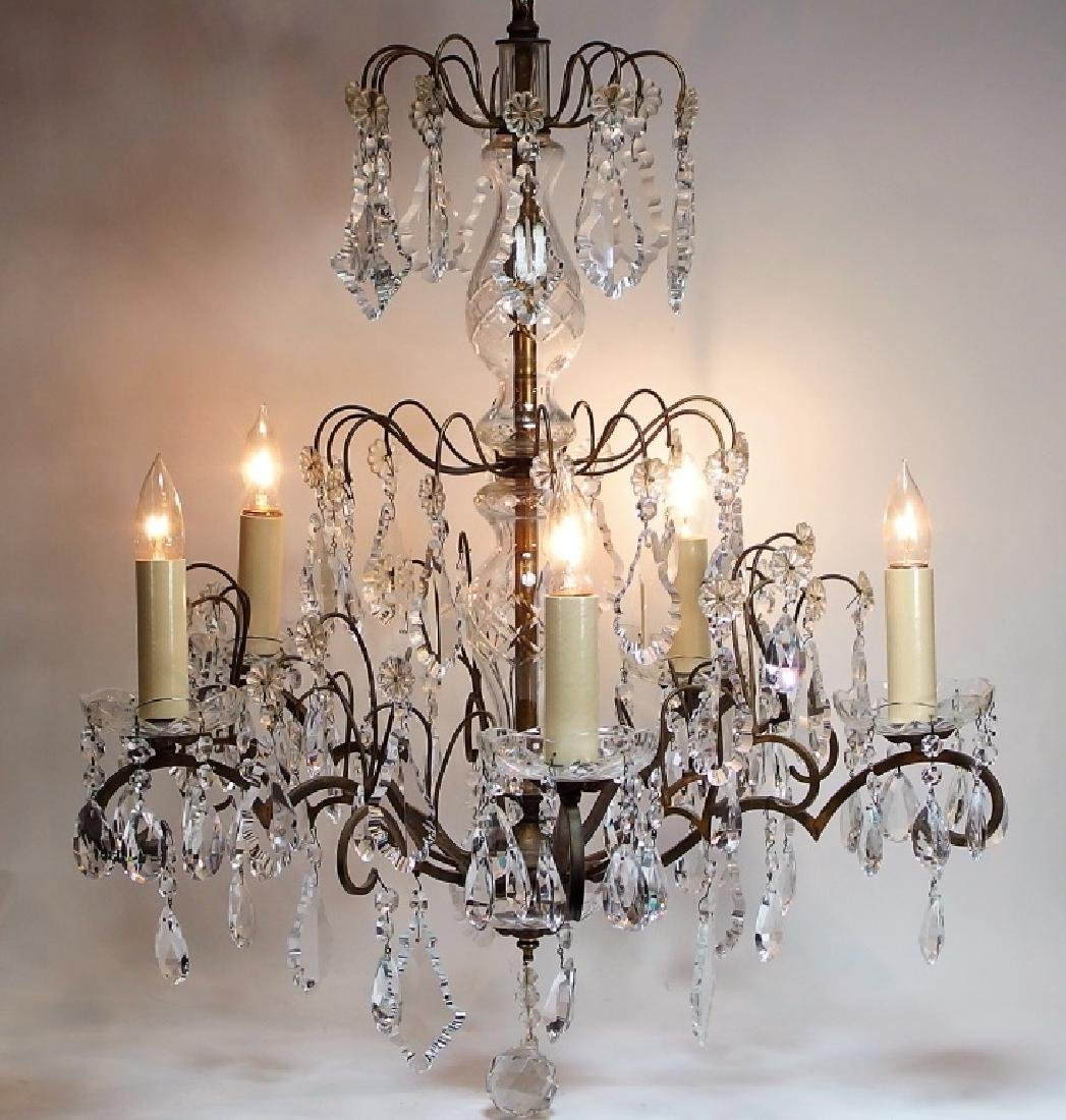 French Hand Cut Crystal & Bronze Chandelier