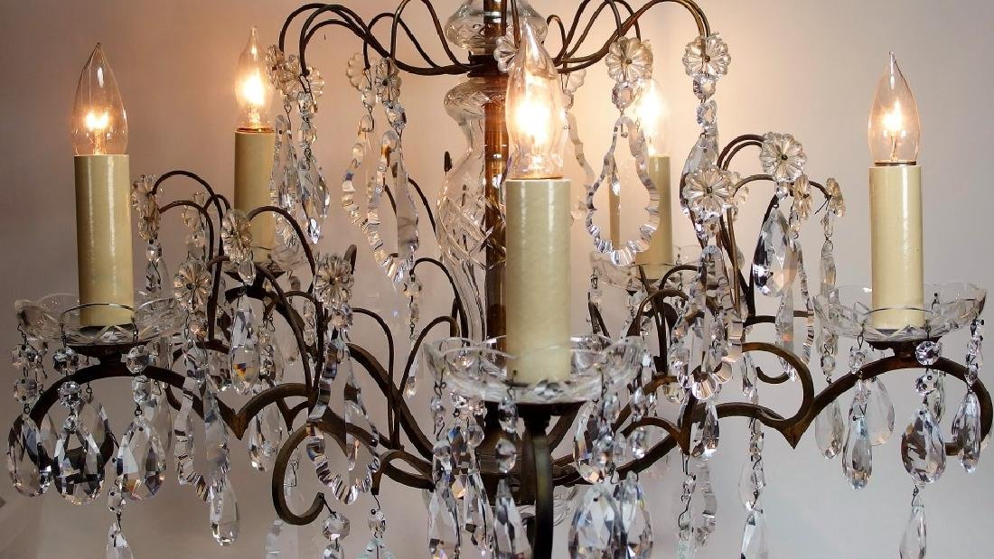 French Hand Cut Crystal & Bronze Chandelier - 2