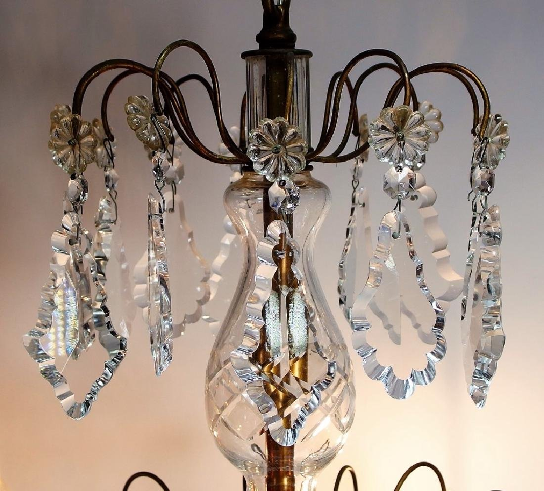French Hand Cut Crystal & Bronze Chandelier - 3