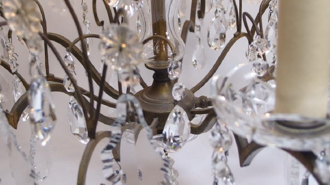 French Hand Cut Crystal & Bronze Chandelier - 4