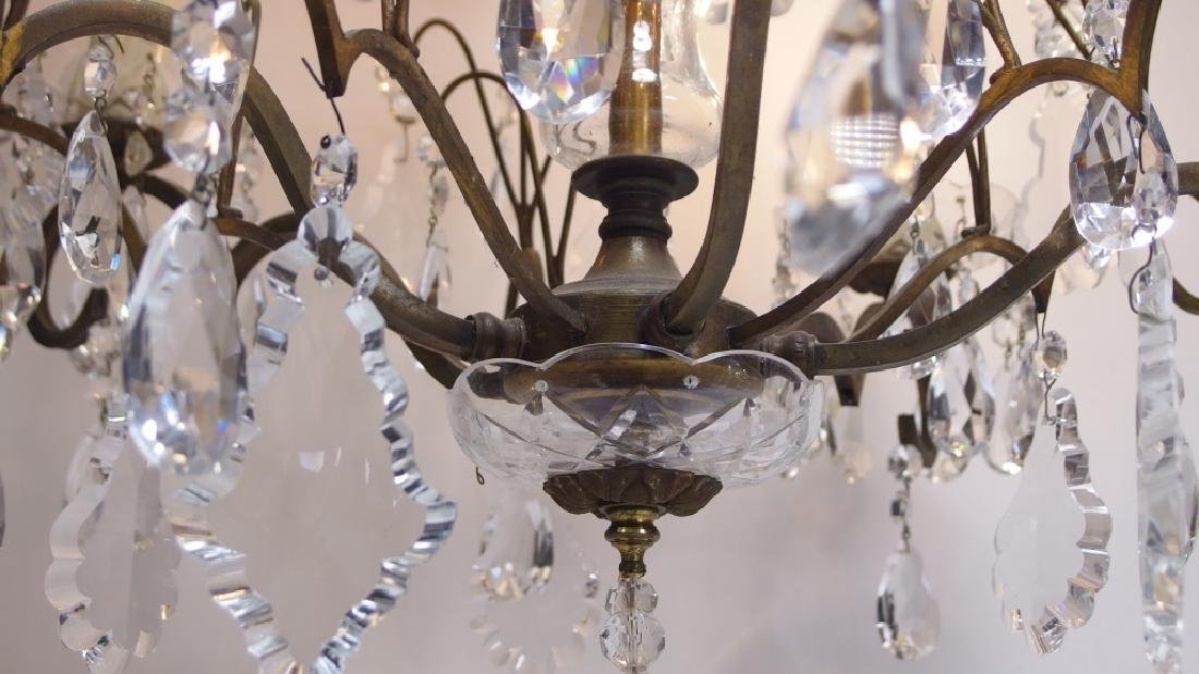 French Hand Cut Crystal & Bronze Chandelier - 5