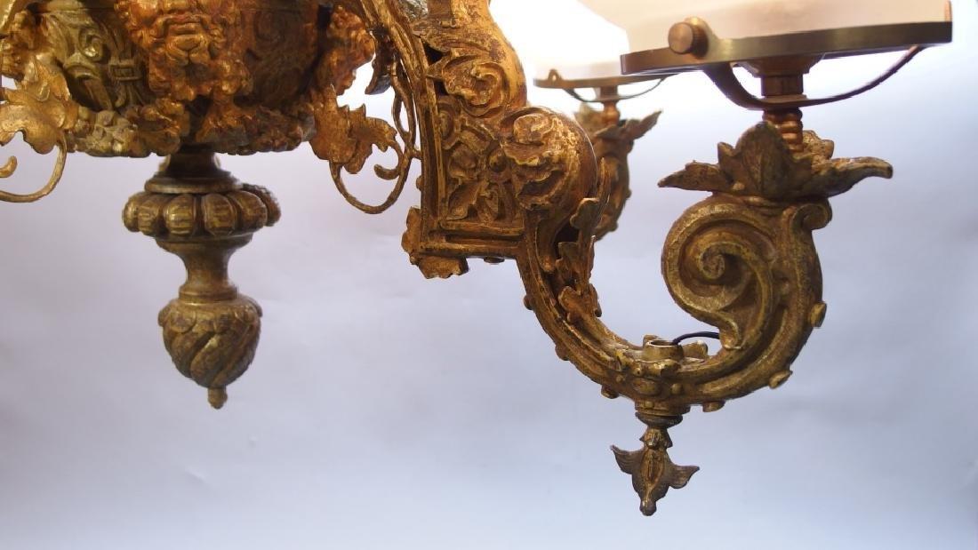 Italian Gold Gilt Bronze Five Arm Chandelier - 8