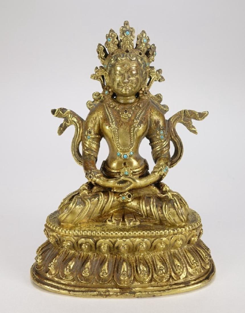 Chinese Bronze White Tara Buddha Figure
